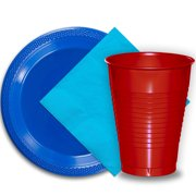 """50 Dark Blue Plastic Plates (9""""), 50 Red Plastic Cups (12 oz.), and 50 Aqua Paper Napkins, Dazzelling Colored Disposable Party Supplies Tableware Set for Fifty Guests."""