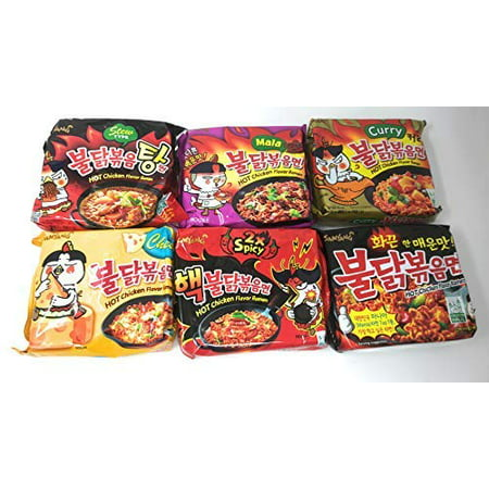 Samyang Spicy Chicken Hot Ramen Noodle Buldak Variety Collection: Nuclear Original Cheese Curry Stew Type and