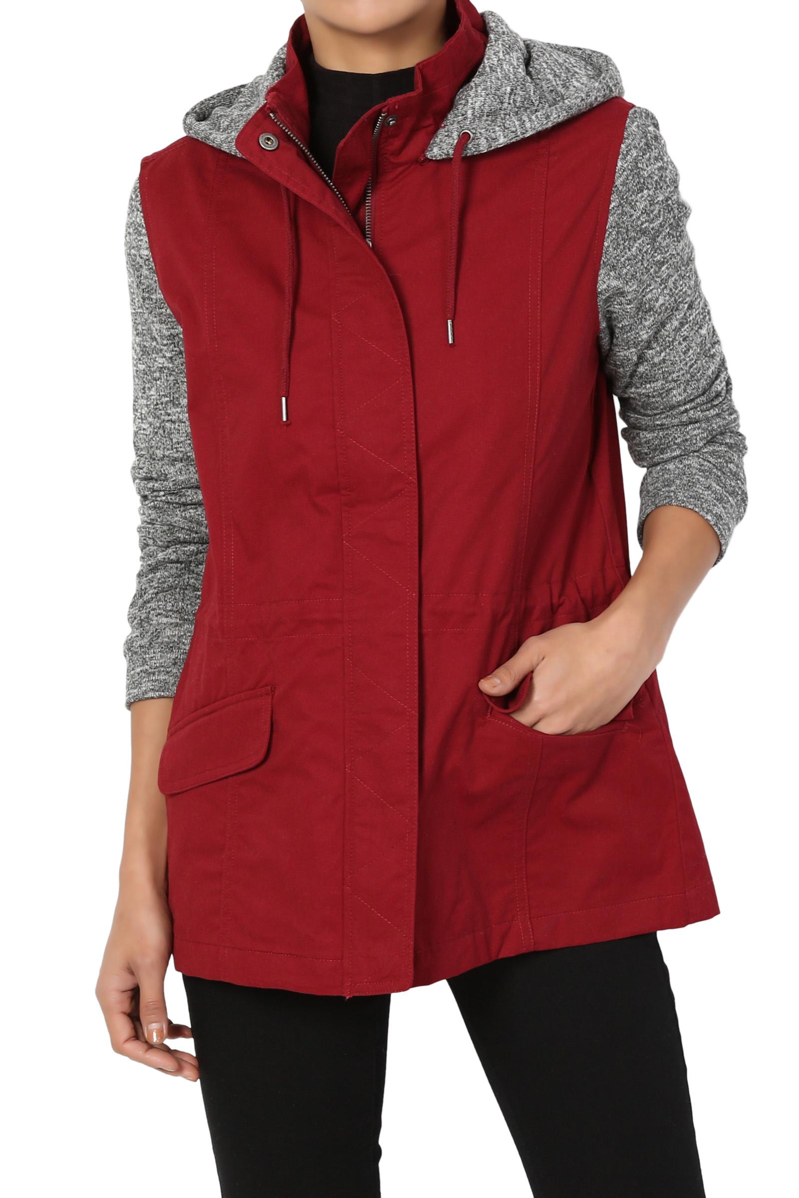 TheMogan Junior's Casual Grey Sweater Knit Sleeve & Hooded Utility Anorak Jacket
