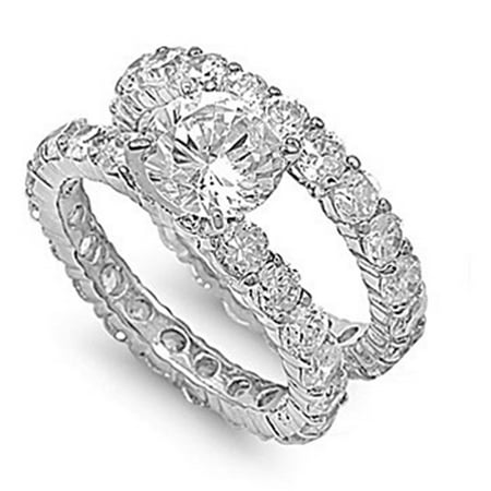 Sterling Silver Eternity Engagement Ring ( Sizes 5 6 7 8 9 10 ) Wedding Band Bridal Set Rings (Size 9)