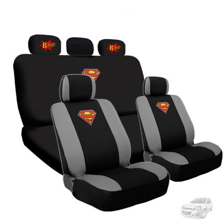 Deluxe Superman Car Seat Covers with 2 Classic BAM Logo Headrest Covers Bundled Gift Set Shipping - Classic Deluxe Seat