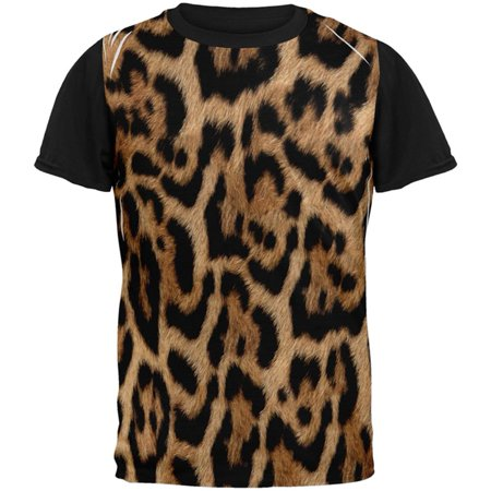 Halloween Leopard Print Costume All Over Mens Black Back T Shirt