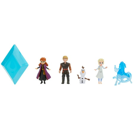 Disney Frozen 2 Peel and Reveal Small Doll Storybook Playset with Anna, Elsa, Olaf, Kristoff & the Nokk