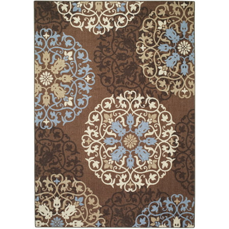 Mainstays Medallion Nylon Printed Rug Blue Brown