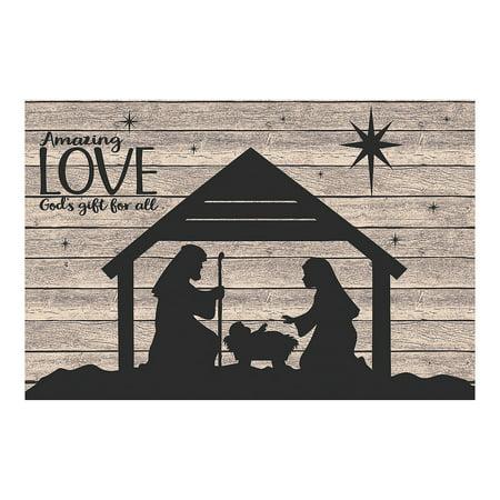 Fun Express - Nativity Silhouette Barnwood Backdrop for Christmas - Party Decor - Wall Decor - Preprinted Backdrops - Christmas - 3 (Nativity Backdrop)