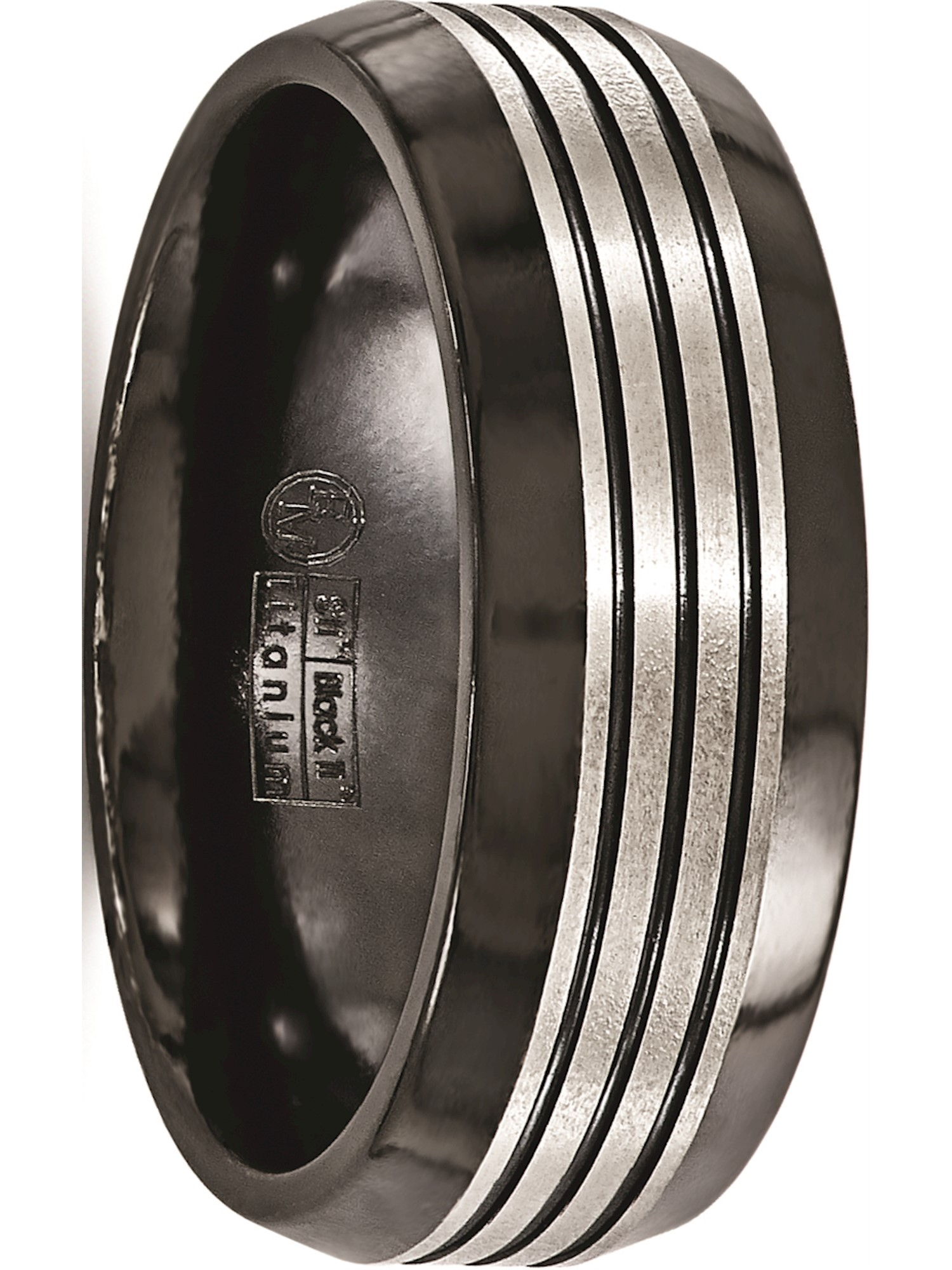 Edward Mirell Titanium Black Ti Flat Top Beveled Edge 8mm Band