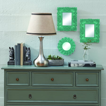 Green Mirror Wave 400 Glass - Mainstays Teal Baroque Florence Wall Mirrors, Set of 3