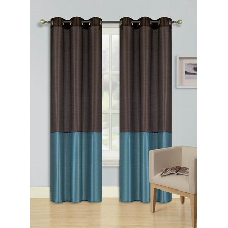 1pc BROWN TEAL  HEIDI Faux Silk Drape Panel Top Chrome Metallic Grommet Window Curtain Treatment Drape 2 Shade 37 wide x 63 length