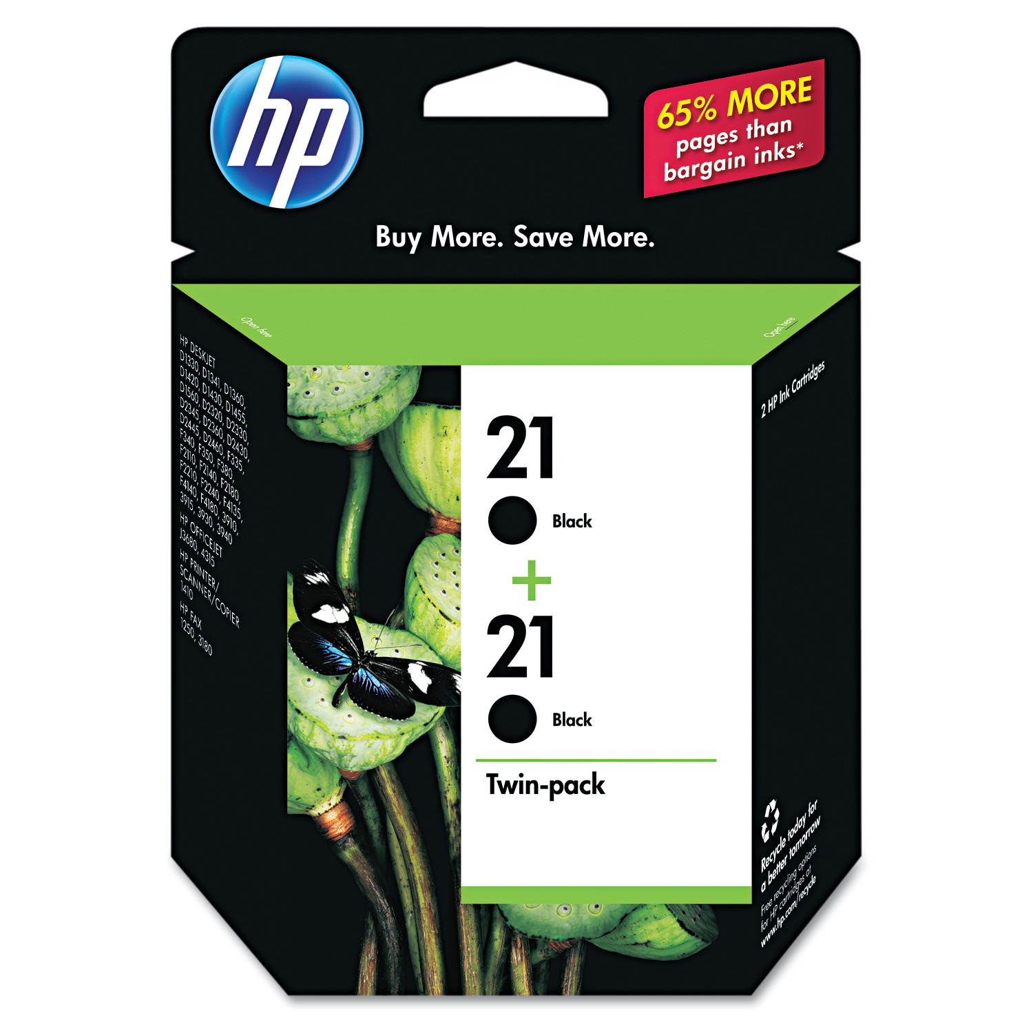 HP 21, (C9508FN) 2-pack Black Original Ink Cartridges