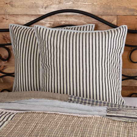 Charcoal Grey Farmhouse Bedding Haven Cotton Seersucker Striped Euro Sham