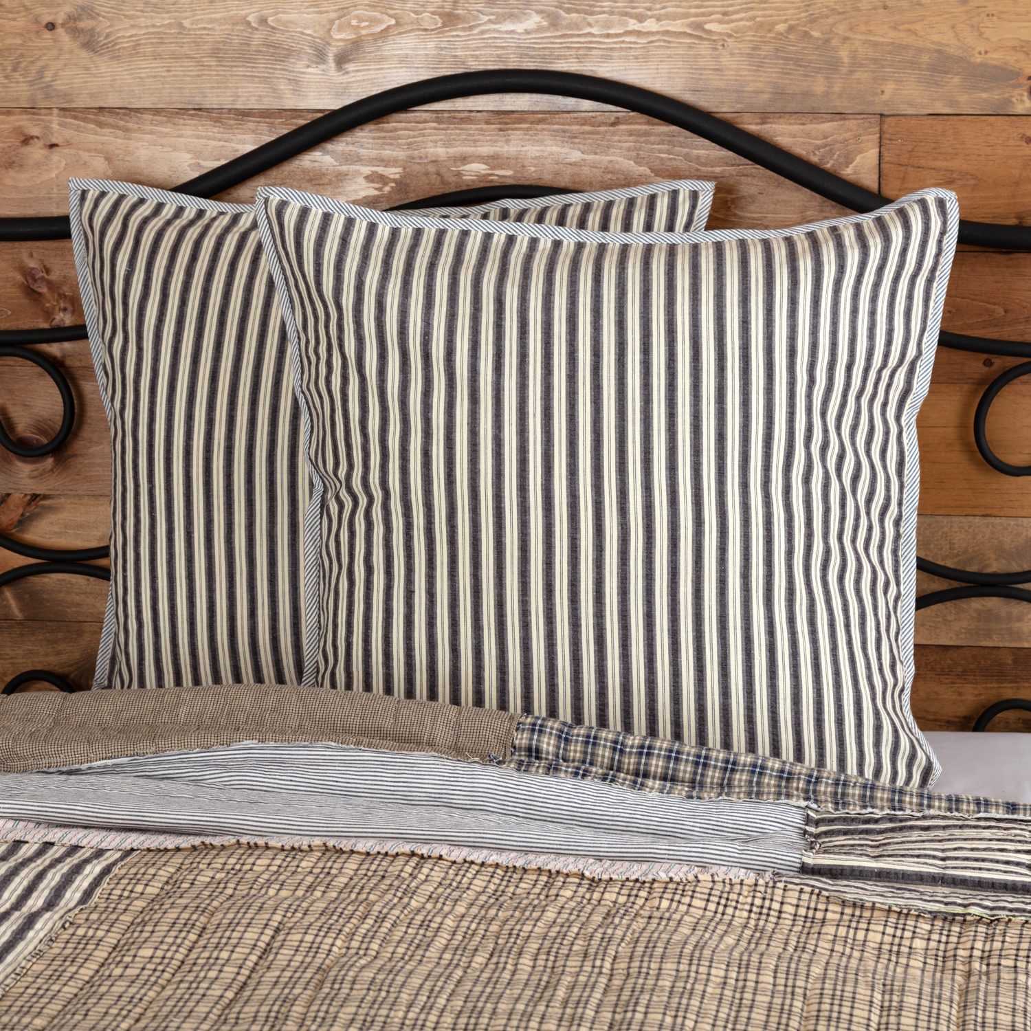 Charcoal Grey Farmhouse Bedding Ashmont Cotton Seersucker Striped Euro Sham