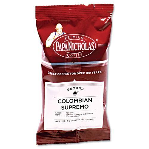 PapaNicholas Coffee Colombian Supremo Ground Coffee, 2.5 oz, 18 count