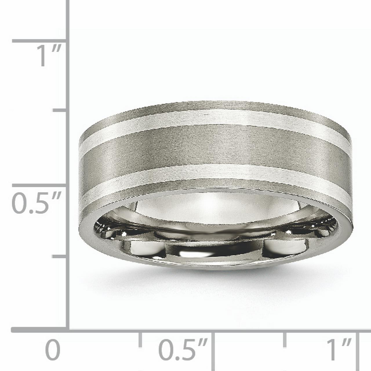 Titanium Sterling Silver Inlay Flat 8mm Brushed and Polished Band