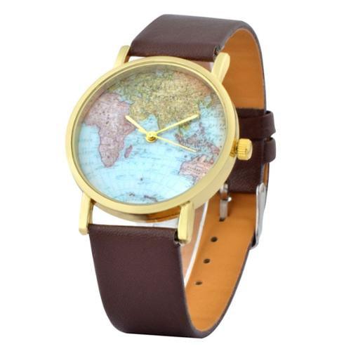 Zodaca Coffee Classic World Map Globe Fashion Leather Strap Alloy Women's Analog Quartz Watch