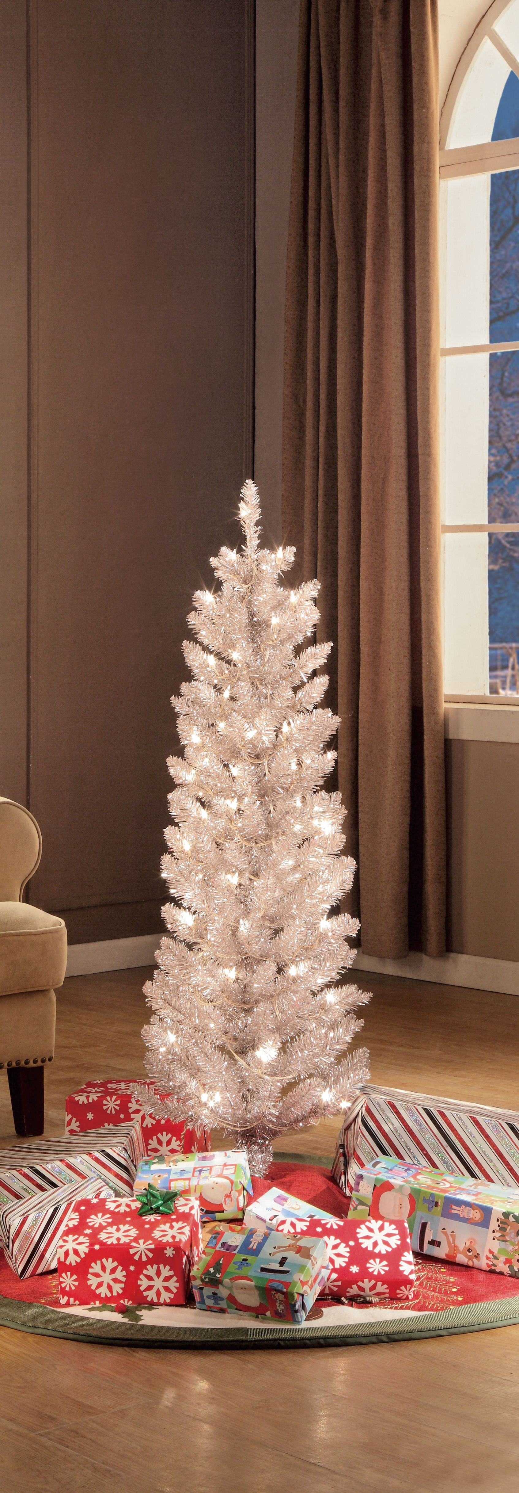 Holiday Time 6ft Pre Lit Rose Gold Tinsel Tree