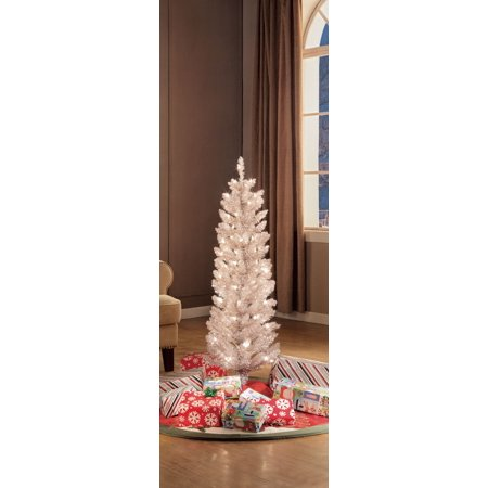 Holiday Time 6ft Pre-lit Rose Gold Tinsel Tree ()