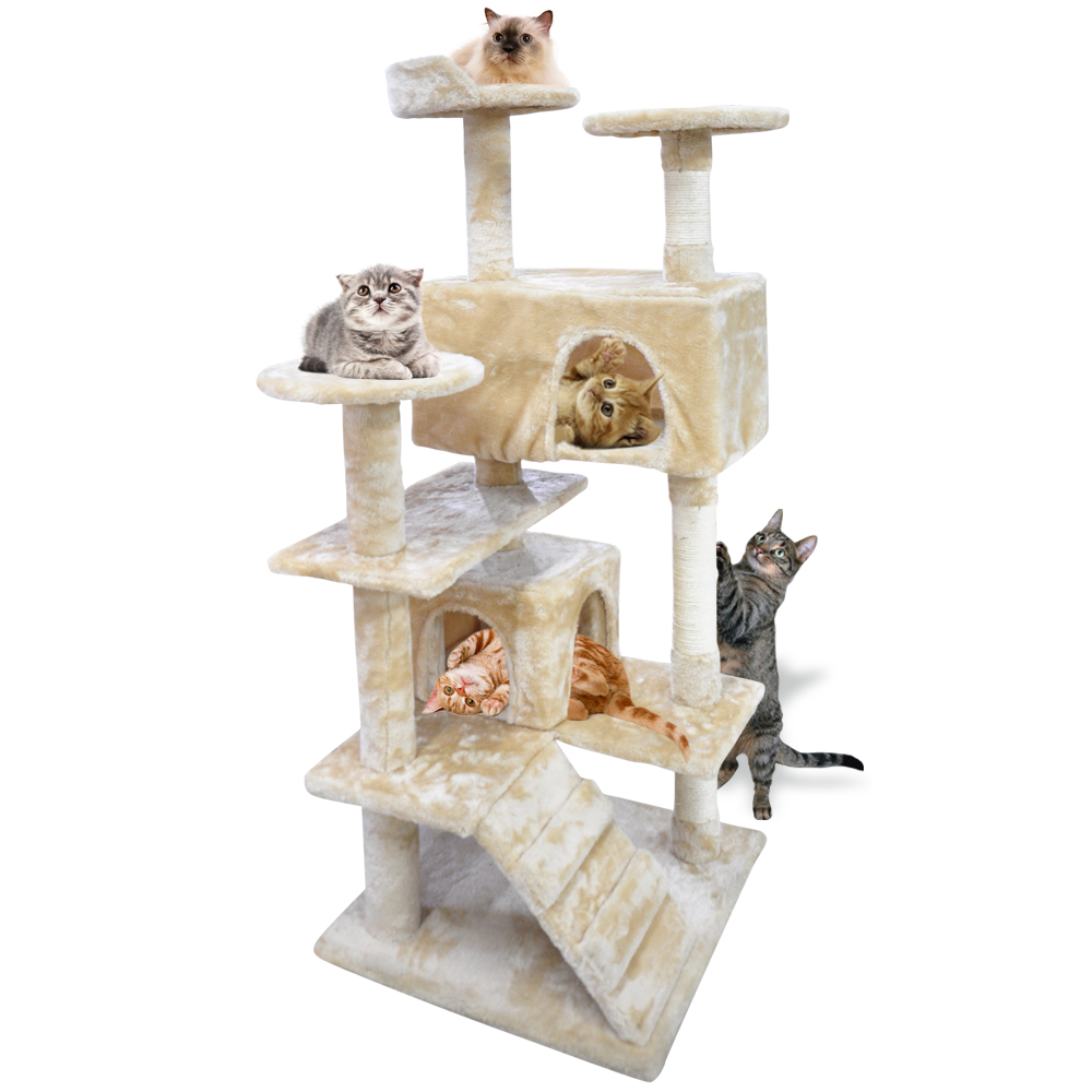 51 InchHeavy Duty Cat Scratching Post Tree Gym House Condo Furniture Scratcher Cream by