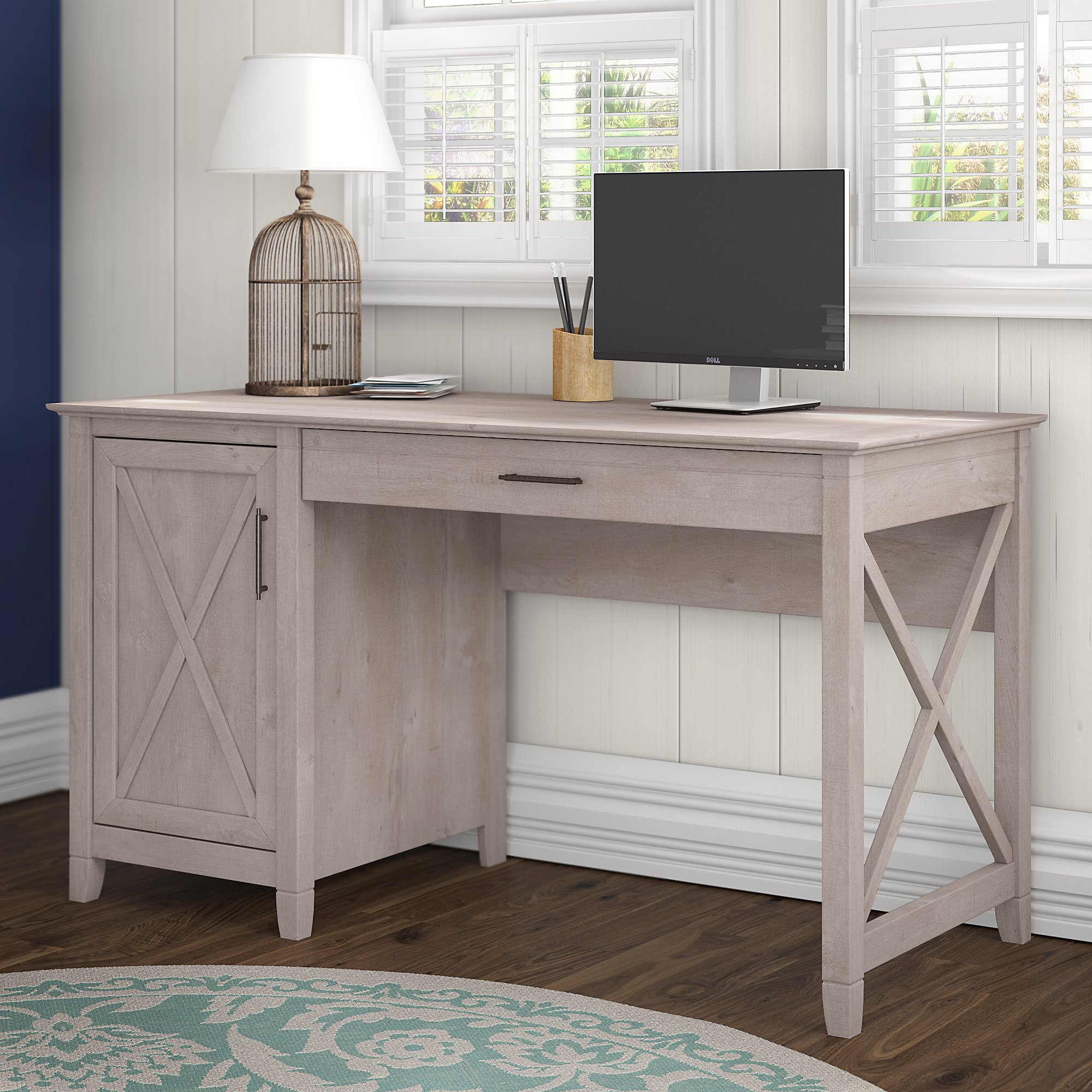 Bush Furniture Key West 54W Computer Desk with Storage in Washed Gray