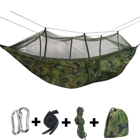 ?Capacity 300KG?Double Person Outdoor Camping Hammock Tent Sleeping Hanging Bed with Mosquito Net, Including Straps, Carabiners, Rope & Portable Bag
