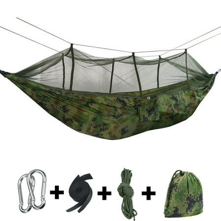 Double Person Outdoor Camping Hammock Tent (with Removable Mosquito Net) Including Straps, Carabiners & Rope– Heavy Duty Lightweight Best Nylon Parachute Hammock - (Best Breasts On The Net)