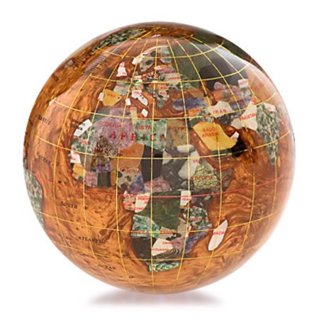 Amber Paperweight - Kalifano Copper Amber 4-in. Gemstone Globe Paperweight