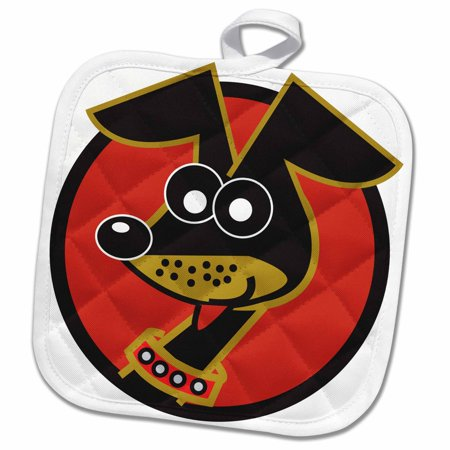 3dRose Cute Small Dog Daschund In Red Circle Retro Style Pet Cartoon - Pot Holder, 8 by 8-inch