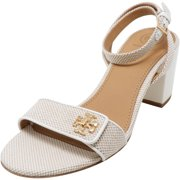 Tory Burch Women's Kira Luggage Canvas Patent Natural / Perfect Ivory Ankle-High Heel - 8M