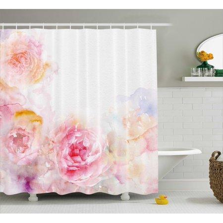 Shabby Chic Shower Curtain, Nature Garden Romantic Victorian Flowers Roses Leaves Image, Fabric Bathroom Set with Hooks, Pale Pink Hot Pink and White, by Ambesonne