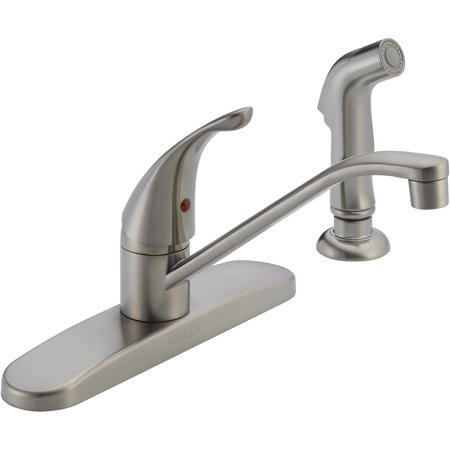 Peerless Core Single Handle Kitchen Faucet with Side Sprayer in Stainless P88501LF-SS-W