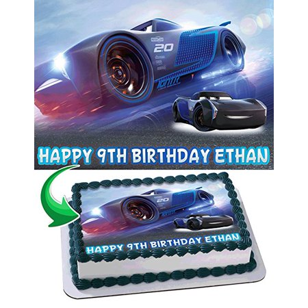 Jackson Storm Cars 3 Edible Cake Image Personalized Birthday Topper Icing Sugar Paper A4 Sheet (Edible Card)