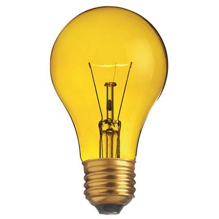 130v Yellow Bug (Satco S6083 25W 130V A19 Transparent Yellow E26 Base Incandescent bulb )