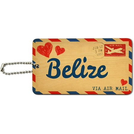 Air Mail Postcard Love for Belize Wood ID Tag Luggage Card for Suitcase or Carry-On