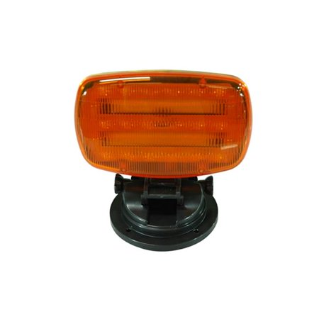 Battery Powered LED Strobe Light with Adjustable Locking Magnetic Base, Amber Lens ()