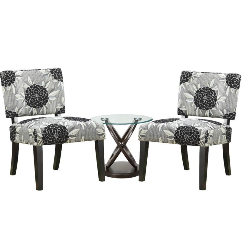 3 Piece Living Room Set with (Set of 2) Accent Chairs and End