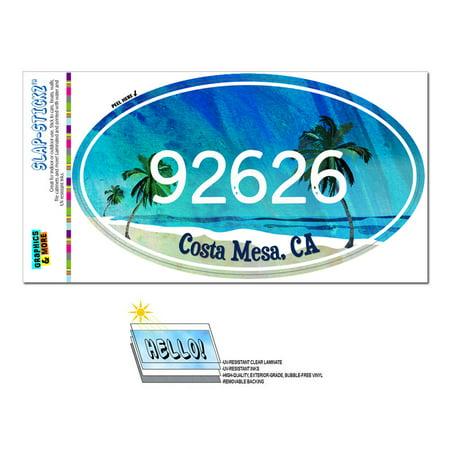 92626 Costa Mesa, CA - Tropical Beach - Oval Zip Code Sticker ()