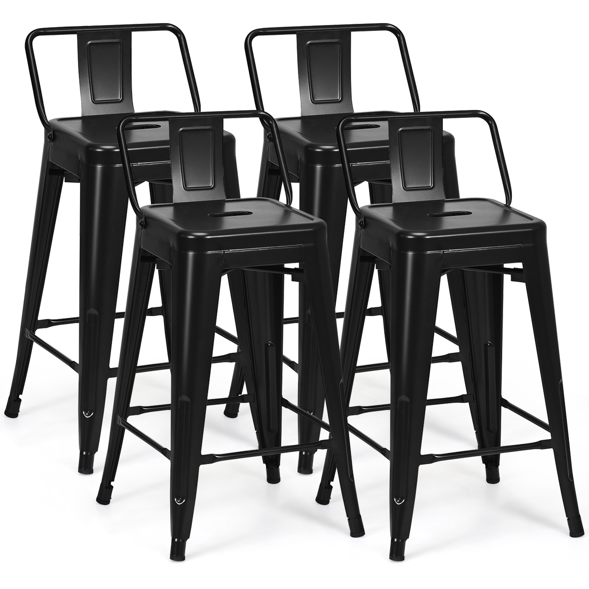 Picture of: Costway Set Of 4 Low Back Metal Counter Stool 24 Seat Height Bar Stools Matte Black Walmart Canada
