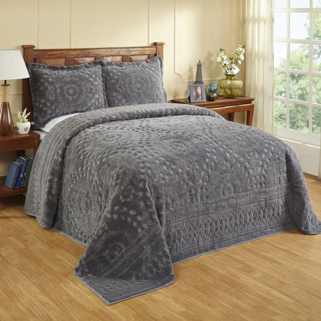 Better Trends Rio Collection in Floral Design 100% Cotton Tufted Chenille, Queen Bedspread, Gray