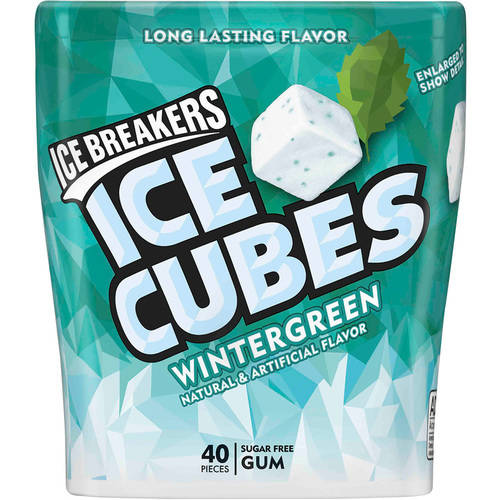Ice Breakers Ice Cubes Wintergreen Sugar Free Gum, 40 ct