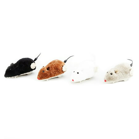 AkoaDa Hot Creative Funny Clockwork Spring Power Plush Mouse Toy Cat Dog Playing Toy Mechanical Motion Rat Pet Accessories (Pet Mouse Accessories)