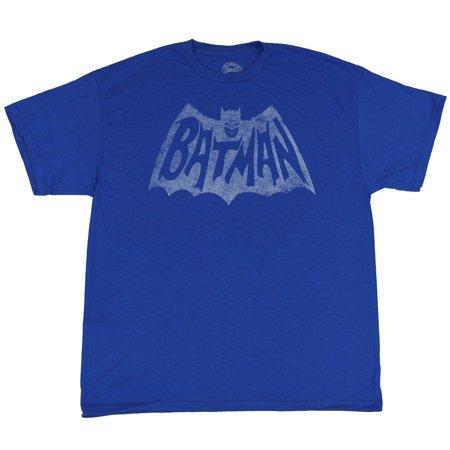 Batman (DC Comics) Mens T-Shirt - Distressed Single Color Print 60's Style (The 60's Clothing)
