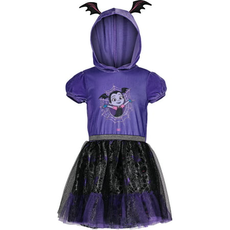 Disney Vampirina Toddler Girls' Costume Hoodie Ruffle Tutu Dress, Purple (4T)