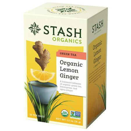 (2 Pack) Stash Tea Organic Lemon Ginger Green Tea, 18 Ct, 1.2 Oz ()