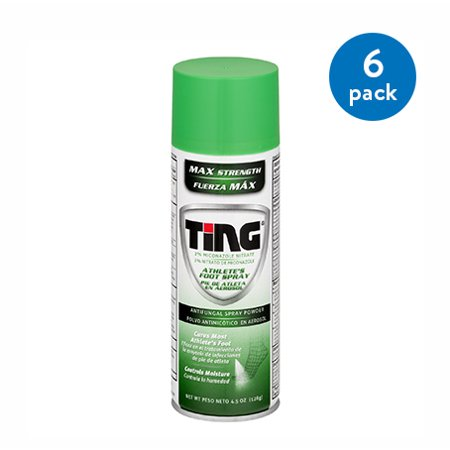 (6 Pack) TING Maximum Strength Athlete's Foot Spray Powder, Anti-Fungal, 4.5