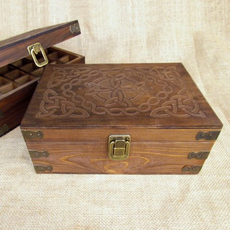 Celtic Design Wood Storage Box for 15ml Essential Oil Bottles by Rivertree Life