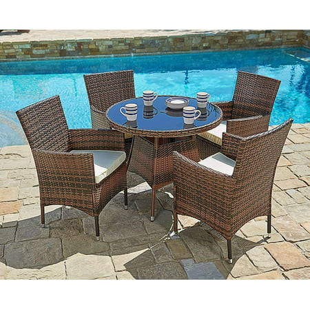 Magnificent Suncrown Outdoor Furniture All Weather Wicker Round Dining Table And Chairs 5 Piece Set Washable Cushions Patio Backyard Porch Garden Poolside Download Free Architecture Designs Photstoregrimeyleaguecom