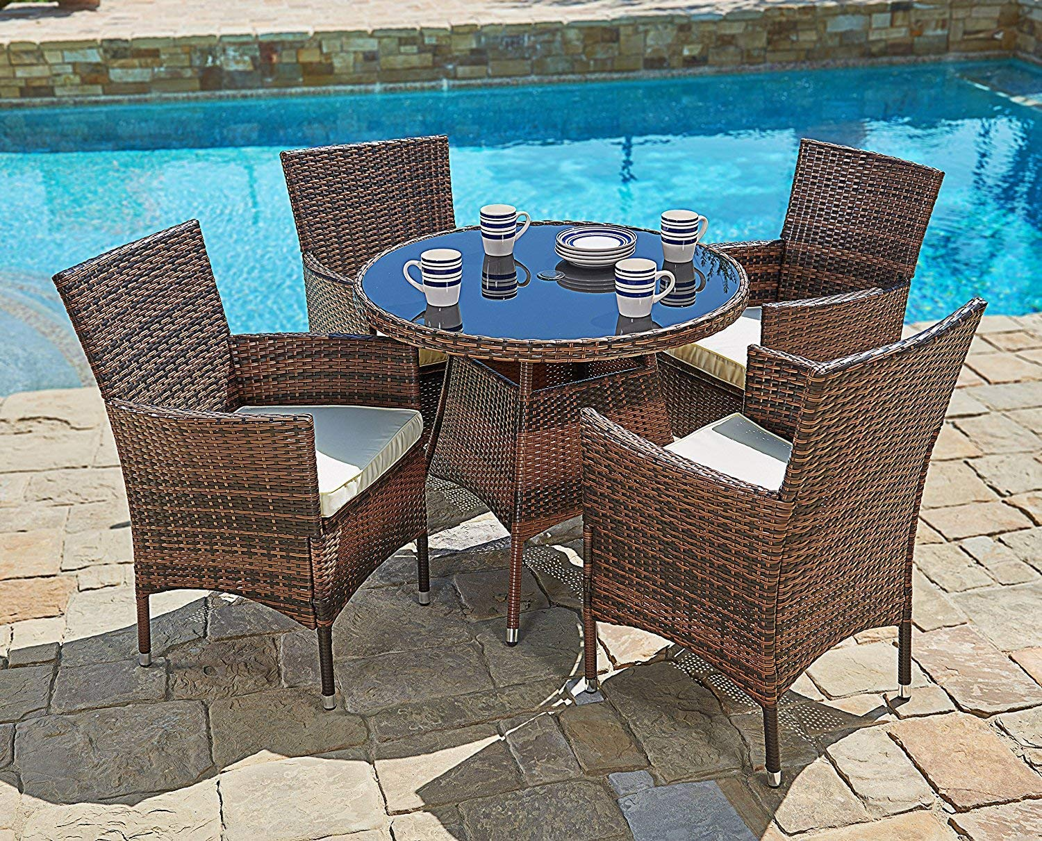 Genial SUNCROWN Outdoor Furniture All Weather Wicker Round Dining Table And Chairs  (5 Piece Set) Washable Cushions | Patio, Backyard, Porch, Garden, ...