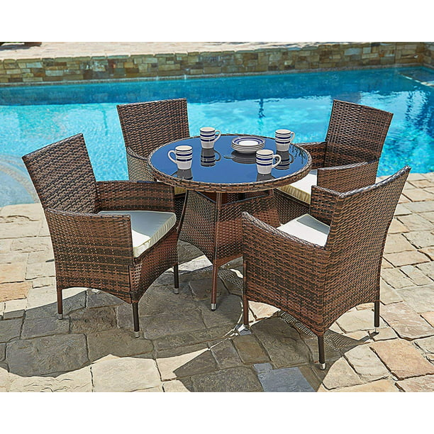 Suncrown 5 Piece Outdoor Patio Dining Set Wicker Round Dining Table And Chairs With Washable Cushions Tempered Glass Tabletop Walmart Com Walmart Com