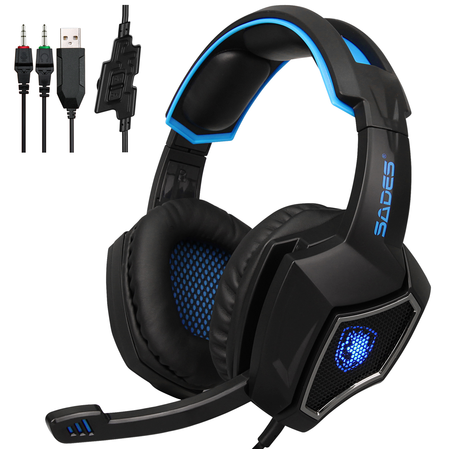 SADES Spirit Wolf Gaming Headset 3.5mm W/ MIC Headphone for PC Mobile Phone Blue