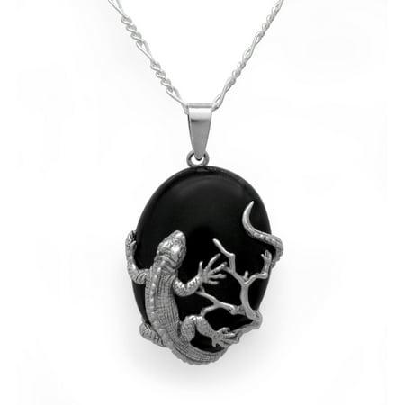 Sterling Silver Iguana Lizard Onyx Pendant Necklace Marcasite Onyx Necklace