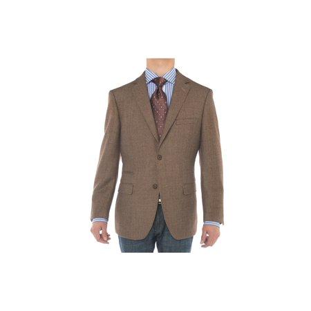 2 Button Brown Wool Blazer (LN LUCIANO NATAZZI Mens Two Button 160'S Wool Blazer Working Buttonholes Jacket)
